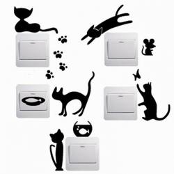 Wallsticker - Kat, mus, fisk - sæt af 5 stk