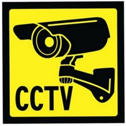 Skilt - Video-overvågning 10 x 10 cm, selvklæbende