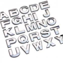 Bogstaver - selvklæbende stickers, chrom METAL