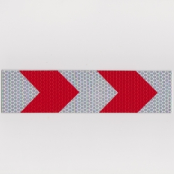 Refleksplade, 5 x 20 cm. Rød/hvid pile