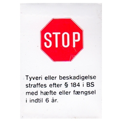 STOP tyveri klistermærke 65 x 50 mm